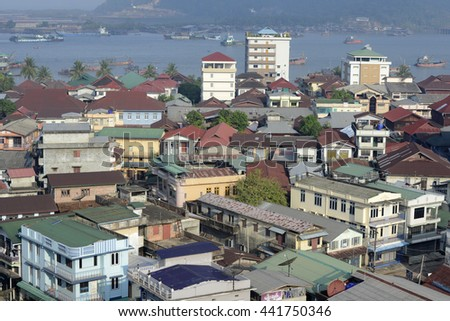 the city centre of Myeik in the south in Myanmar in Southeastasia.