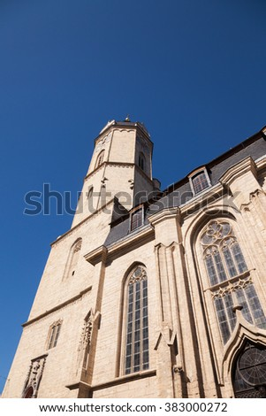 the city Church of Jena on a sunny day in March - stock photo