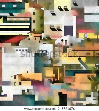 The city. Densely built houses in the city. Architectural Chaos. Conceptual drawing. - stock photo