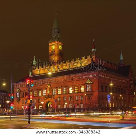 The city hall of Copenhagen at night, Denmark - stock photo