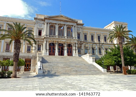 The City Hall of Ermoupolis town at Syros island in Greece - stock photo