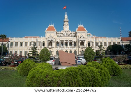The City Hall of Ho Chi Minh City, Vietnam, south-eastern Asia. - stock photo