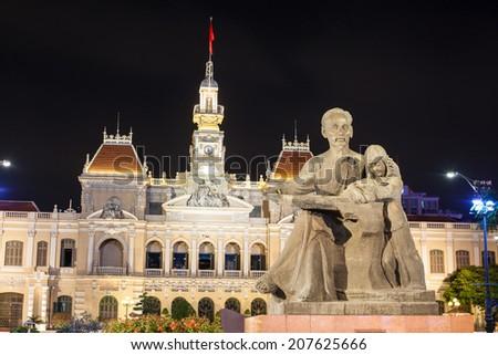 The City Hall of Ho Chi Minh in Ho Chi Minh City, Vietnam at night  - stock photo