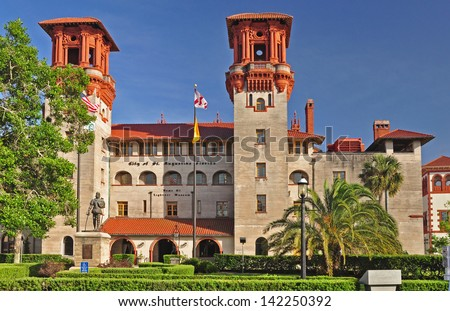 The City Hall of St Augustine. The building also house the Lightner Museum and a shopping arcade. - stock photo