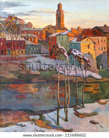 the city landscape of Vitebsk drawn with oil on a canvas - stock photo