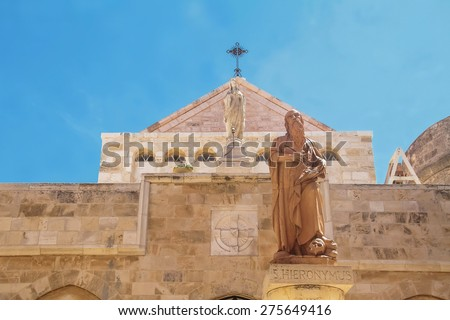 The city of Bethlehem. The Church of the Nativity of Jesus Christ. Hieronymus. - stock photo