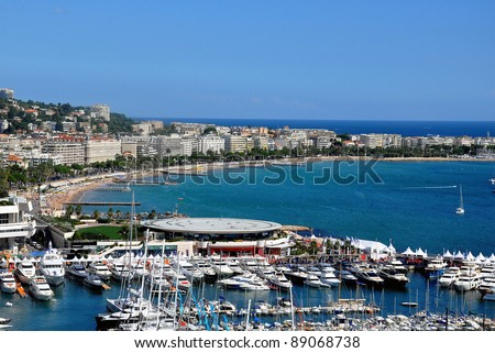 The city of Cannes with its famous croisette and marina - stock photo