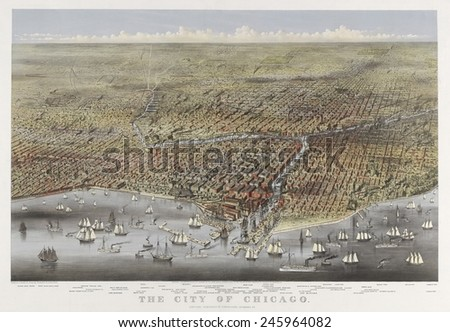 The City of Chicago in 1874. Bird's-eye view of Chicago Illinois from above Lake Michigan prominent features listed below image. - stock photo