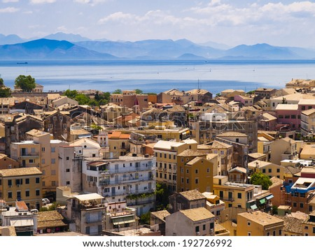 The city of Corfu during the summer sunny day - stock photo
