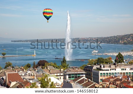 The city of Geneva in Switzerland, a aerial view - stock photo