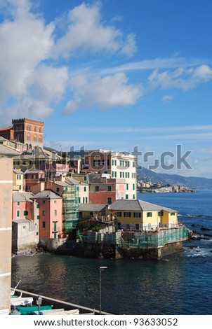 The city of Genoa with its palace, skyscraper and the acient quarter of Boccadasse