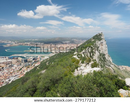 The City of Gibraltar from the Top of the Rock of Gibraltar - stock photo