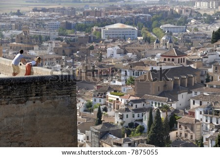The city of Granada in Spain seen from the Alhambra.The Alhambra is an UNESCO World Heritage site - stock photo