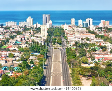 The city of Havana on a beautiful summer day with a view of the Caribbean sea - stock photo