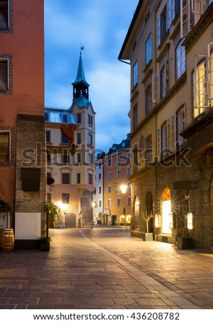The city of Innsbruck, Austria, by night