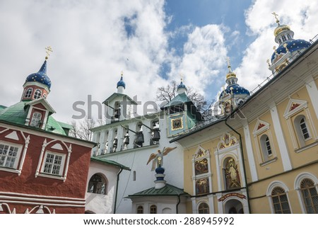 The City Of Pechora. Russia. Church of the intercession and the bell tower of the Pskov-caves monastery. - stock photo