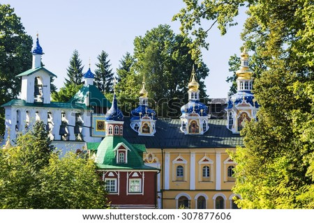 The City Of Pechora. Russia. Church of the intercession and the bell tower of the Pskov-caves monastery - stock photo
