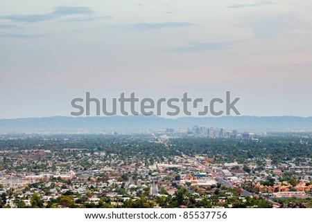 The city of Phoenix at sunset, Arizona, USA - stock photo