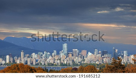 The city of Vancouver in Canada - panoramic view photographed in 2014 - stock photo