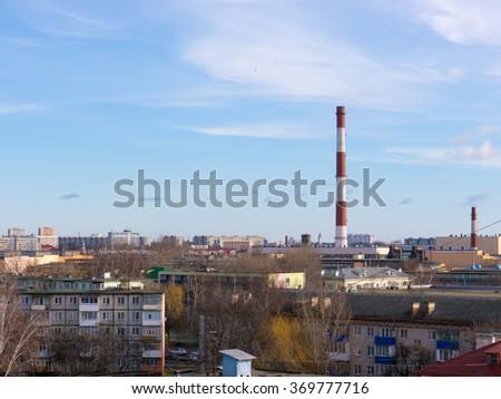 The city outdoor Factory chimneys.  - stock photo