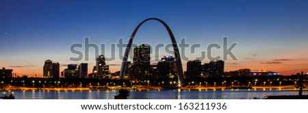 The city skyline of St. Louis with Gateway Arch, Missouri.  - stock photo