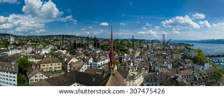 The Cityscape of Zurich. The View from the Grossmunster cathedral tower. Switzerland.