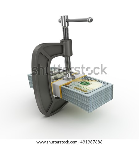 The clamps compresses the stack of dollars. 3d rendering on white background