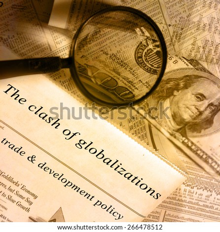 The clash of globalizations headlines - stock photo