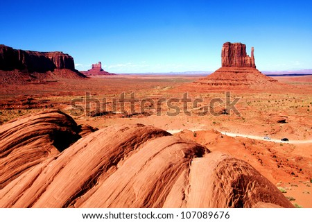 The Classic Western Landscape in Monument Valley ,Utah - stock photo