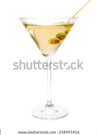 The classical, dry martini should be made with dry vermouth and be garnished with green olives. - stock photo