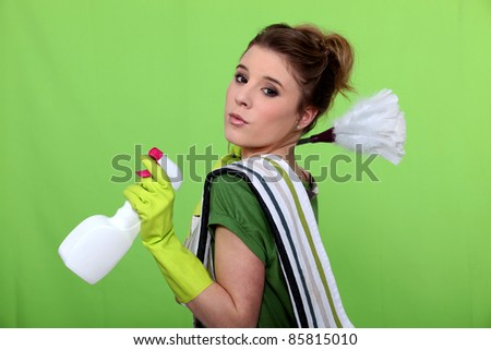 The cleaning green fairy - stock photo