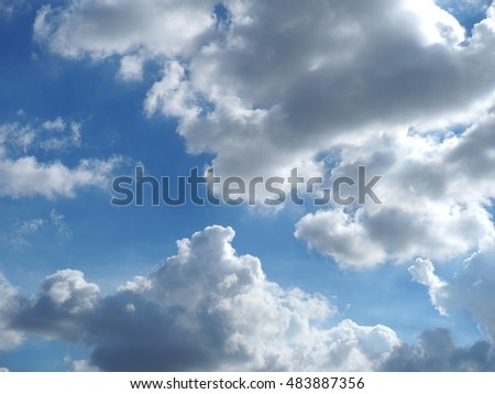 The clear and beautiful blue summer sky with the white clouds