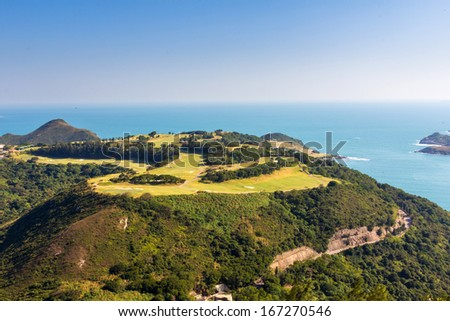 The Clearwater Bay Golf Country Club in Hong Kong, China in a misty day - stock photo