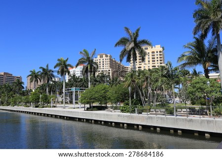 The Clematis Docks in downtown West Palm Beach offers a wonderful view of the pedestrian walkway along Lake Worth - stock photo