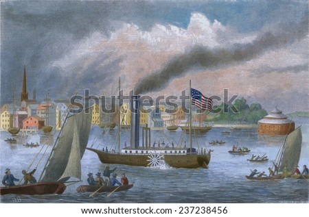 The CLERMONT Robert Fulton's first steamship starting its first New York to Albany voyage It sailed 150 miles upstream in 32 hours at an average speed of five mile per hour August 17- 18, 1807. - stock photo