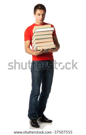 The clever young man holds in hands a pile of books on a white background. - stock photo