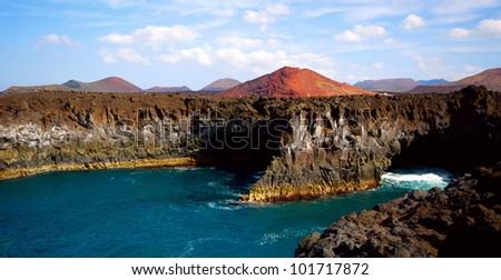 The cliff beach of Lanzarote, Los Hervideros - stock photo