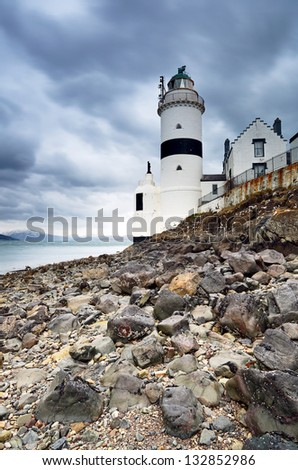 The Cloch Lighthouse near Gourock, Scotland on a stormy day.