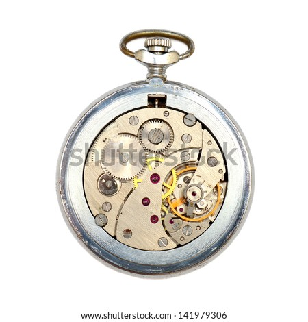 The clock mechanism isolated on white background - stock photo