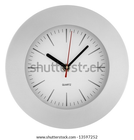The clock on a white background