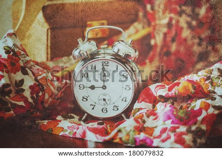 The clock on the tissue - stock photo