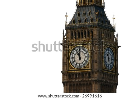 The clock tower of Big Ben, London, England, isolated on a white background - stock photo