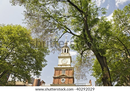 The clock tower of Independence Hall in Philadelphia Pennsylvania.
