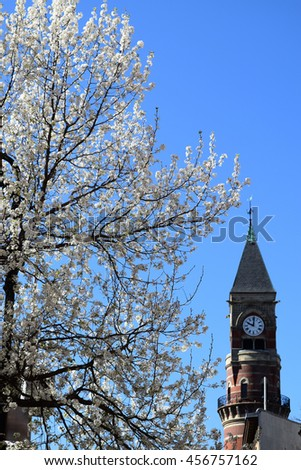 The clock tower of the Jefferson Market Library