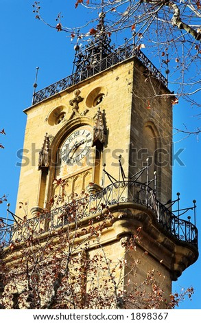 The clocktower of Hotel de Ville in Aix-en-Provence, France - stock photo
