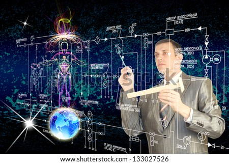 The cloning people. Innovation sciencegenetic technology - stock photo