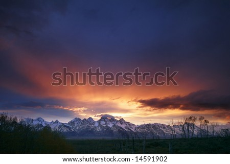 the close of another day in the Grand Tetons National Park - Wyoming - stock photo