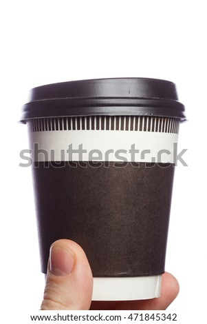 the close up coffee cup in hand on isolate background