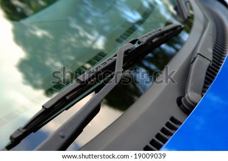 The close up of car windwhield wiper - stock photo