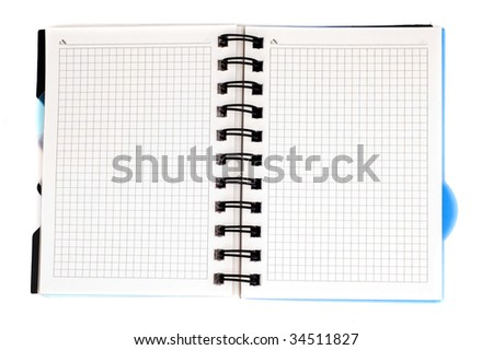 the close-up opened notebook isolated on the white - stock photo